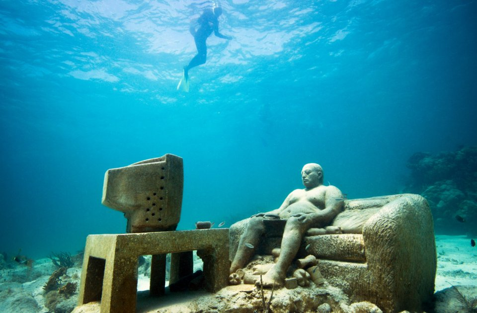 Underwater Sculptures Both Protect And Become Coral Reefs